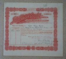 1923 John Bell & Croydon share certificate, London based pharmacy