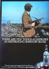 1981 'Smirnoff Silver' Vodka Advert (Tommy Gun Bird Shoot) - Original Print AD