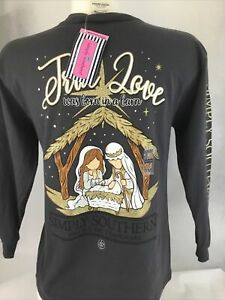 Simply Southern Youth Medium 10-12 NWT True Love Was Born In A Barn Gray & Gold