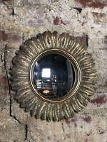 Glace / miroir plumes doré patiné avec oeil de sorcière Diam 32 cm