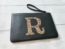 Personalised Leopard Print Initial Faux Leather Clutch Bag Pouch,Black or White