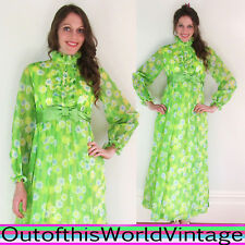 Vtg 60s 70s GREEN FLOWER POWER DRESS floral hippie BRIGHT NEON PSYCHEDELIC SHEER