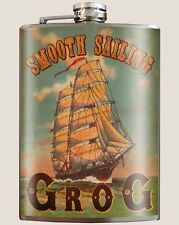 """""""Smooth Sailing Grog"""" 8 oz. Stainless Steel Flask with Funnel"""