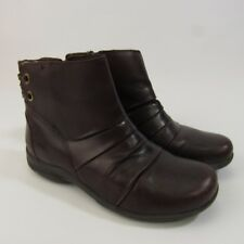 Clarks Ankle Boots Women's Size 6 Burgundy Plum Leather 6M Zipper Shoes
