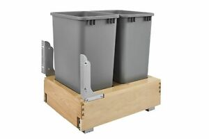Kitchen Homes Counter Cabinet Pull-Out Bottom Mounted Double Waste Container Bin