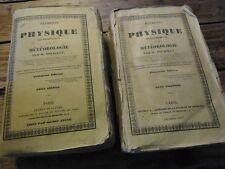 ELEMENTS DE PHYSIQUE EXPERIMENTALE ET METEOROLOGIE POUILLET 2 VOL PLANCHES 1837