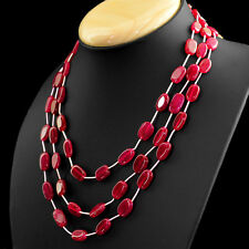 229.00 CTS EARTH MINED RICH RED RUBY 3 LINE OVAL SHAPE BEADS NECKLACE - ON SALE