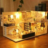 Miniature DIY Dollhouse Furniture 3D Wooden LED Doll Toys House Kit For Chi I5F1