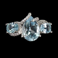 Pear Sky Blue Topaz 12x8mm Cz 14K White Gold Plate 925 Sterling Silver Ring Sz 7