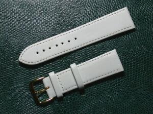 klassik echt Leder Uhrenarmband weiß seidenmatt 22mm breit, goldene Schlie.9838g