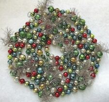 """CHRISTMAS GARLAND=MULTI COLOR MERCURY GLASS BEADS & SILVER TINSEL ACCENTS= 100"""""""