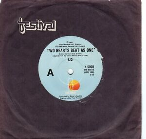 U2 - TWO HEARTS BEAT AS ONE - 45 VINYL RECORD Island Records 1983 Rare