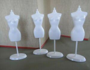 4 Barbie Doll Displays- Fashion Fever Mannequin Dress Form Vintage Stand WHITE