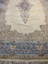 "9'6"" X 16' Hand Knotted Persian Kirman Kerman Ivory Medallion Wool RUG"