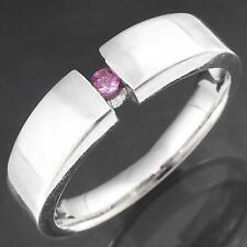 Modern Illusion Tension Solid 9k WHITE GOLD PINK SAPPHIRE SOLITAIRE RING Sz N1/2