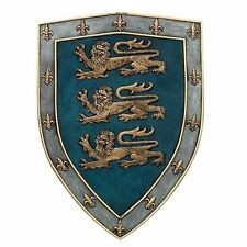 """18"""" Tall Medieval Three Lions Royal Coat of Arms Shield Wall Plaque Figurine"""