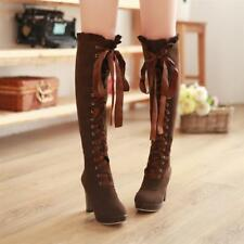 Women Fashion New Korean Style Casual Lace up Pointed Toe Winter Warm Long Boots