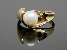 Vintage 7.5mm Natural Pearl and Diamond 10K Gold Ring, 3.6, size 8