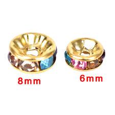 100Pcs/Set Multicolor Crystal Rhinestone Round Rondelle Spacer Beads DIY 6mmHZT