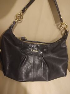 Coach F19761  Leather Ashley Black Hobo Handbag Satchel Purse