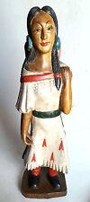 """Hand Carved Wooden Indian Statue 20"""" Female Figure Teak Wood carving Decor Vtg"""