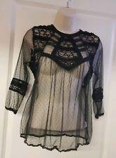 Ladies beautiful black mesh lace vintage Victorian goth blouse top size S 10