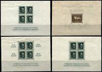 Germany #B90 #B102 #B103 #B104 Deutsches Reich Souvenir Sheets Postage Mint