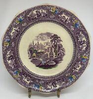 "TW Barlow Longton England ""Medina"" Polyschrome & Purple Transferware Plate 7N"