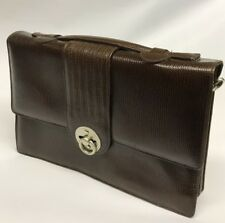 Mid Century Brown Leather Picard Shoulder/Hand Bag - Folding Clasp Lock - Strap