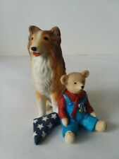 Sarah's Attic Michaud Tommy w/ Dog #6635 Teddy Bear Collie Flag Veterans Parade