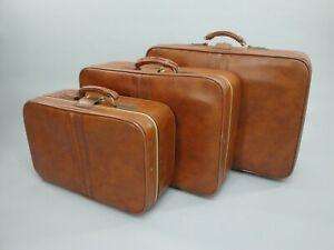 Vintage 3pc Leather Luggage Soft Side Suitcase Set with Caramel Brown Exterior