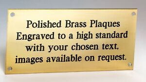 Engraved Polished Solid Brass Plaque  Various Sizes Available