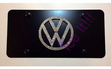 VOLKSWAGEN VW Black Vanity Front license plate frame 1mm Swarovski Crystal