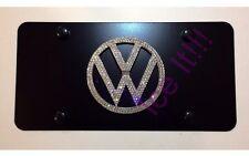 VOLKSWAGEN VW Black Vanity Front license plate frame 1mm Swarovski Crystal