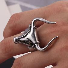 Cool Men's Stainless Steel Gothic Punk Ox Head Boy Biker Finger Ring Jewelry