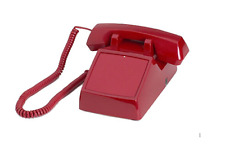 No Dialpad, No Dial Receive-Only Desktop Red Phone with Ringer