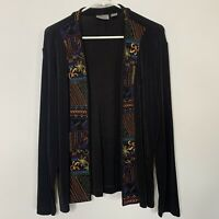 Chicos Travelers Open Cardigan Size 3 XL Black Embroidery Stretch Long Sleeve C1
