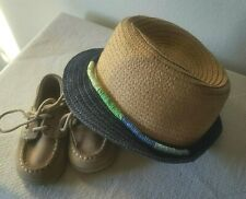 Sperry Top Sider Boys Toddler Boat Shoes 4M + Fedora Straw Hat Blue Green Tan
