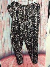 Womens Plus 3X Cheetah Print Brown Black Pajama Pants Silky Sleepwear Lounge