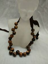 Stunning J.Crew tiger eye round beads bow necklace