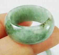Jade Ring Size 8.5 Jadeite Wide Natural Burmese Untreated Vivid Light Green Fine