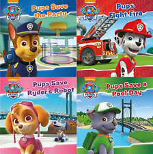 4 X PAW PATROL STORY BOOKS: POOL DAY, RYDER'S ROBOT, FIGHT FIRE & SAVE THE PARTY