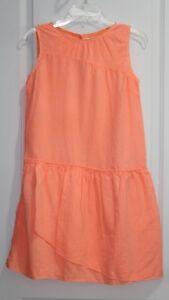 NWT J CREW Sz 16 CREWCUTS Girls OVERLAY DRESS Neon Peach Style B9001
