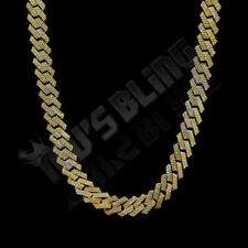 18K Gold Plated Out Iced Lab Diamond Prong Set 14mm Cuban Link Chain Bracelet