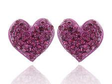 Valentine Love Heart Hot Fuchsia Pink Purple Crystal Rhinestone Stud Earrings