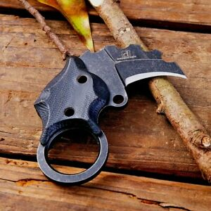 Mini Claw Knife Karambit Serrated Fixed Blade Hunting Combat Tactical G10 Handle