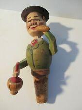 Vintage Anri Carved Wood Cork Bottle Stopper Mechanical Man Bottle Drinking