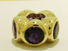 Bd039 Authentic Genuine 9ct Yellow Gold NATURAL Amethyst Roundelle Bead