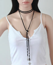 Long Wrap Choker Lariat Leather Tassel Brown Black Coin Costume Party Necklace