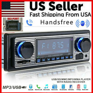 Bluetooth Vintage Car FM Radio MP3 Player USB Classic Stereo Audio Receiver AUX